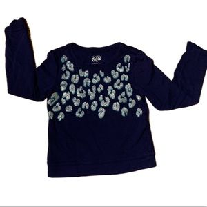 Justice Navy Blue Cheetah Sparkle Sweater - 8